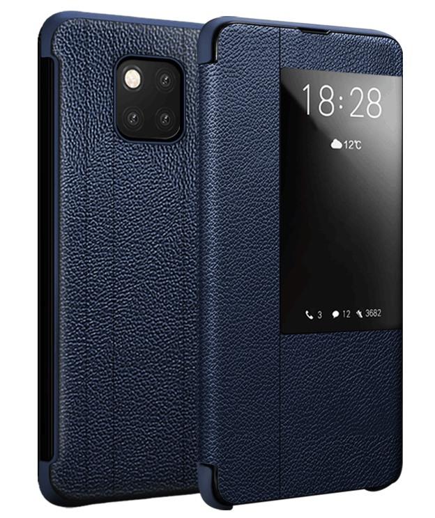 Husa slim piele naturala, smart cover, Huawei Mate 20 Pro, Xoomz by iCarer Litchi Smart, Albastru