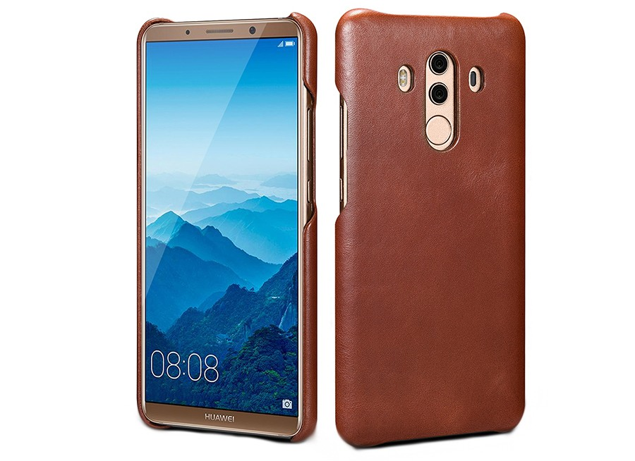 Husa din piele naturala, tip back cover, Huawei Mate 10 Pro - Xoomz by iCarer Vintage, Maro coniac