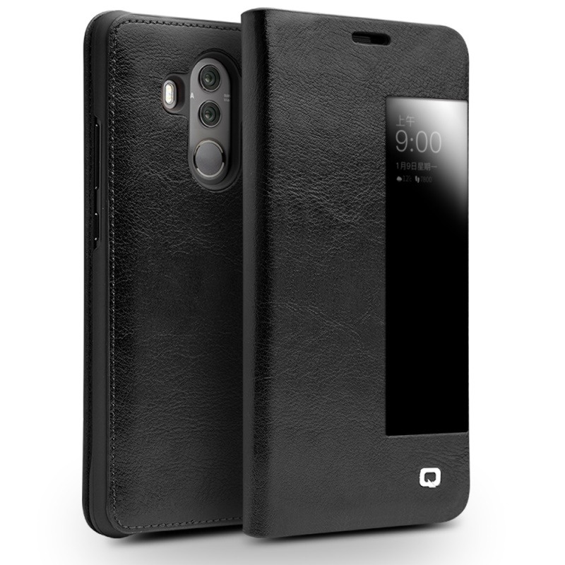 Husa slim din piele fina naturala, smart cover, Huawei Mate 10 Pro - Qialino Smart Leather, Negru