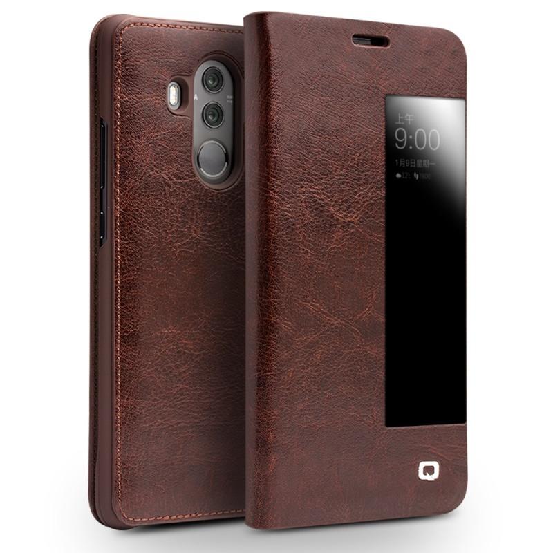 Husa slim din piele fina naturala, smart cover, Huawei Mate 10 Pro - Qialino Smart Leather, Maro coffee