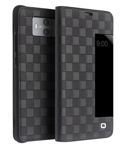 Husa slim din piele fina naturala, smart cover, model carouri, Huawei Mate 10 - Qialino Smart Checkered Leather, Negru