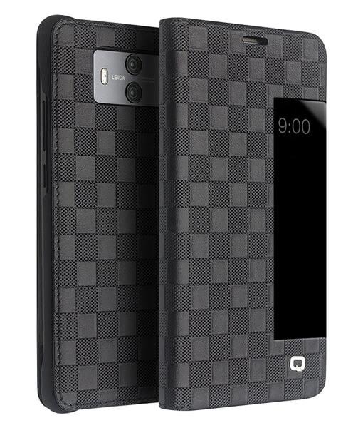 Husa slim din piele fina naturala, smart cover, model carouri, Huawei Mate 10 - Qialino Smart Checkered Leather, Negru