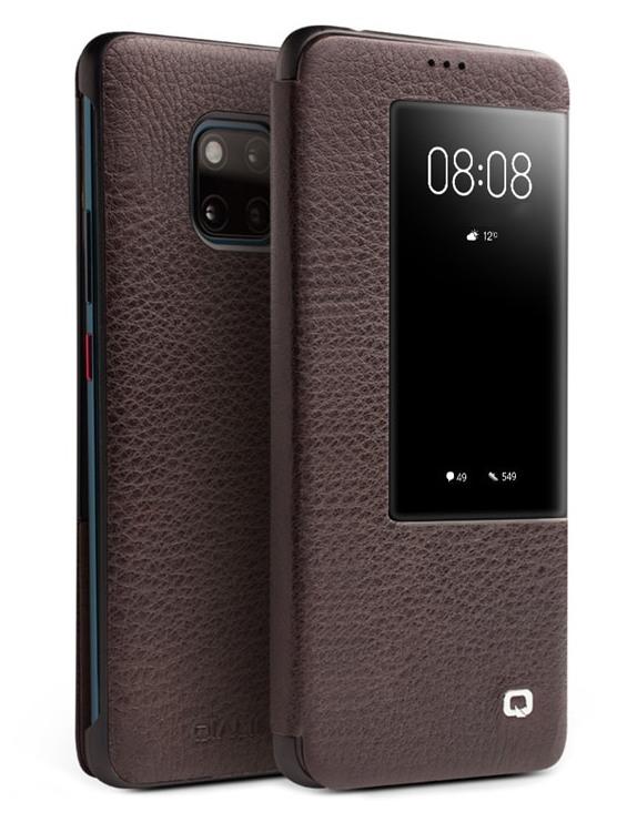 Husa slim din piele naturala, smart cover, Huawei Mate 20 Pro - Qialino Smart Luxury, Maro coffee