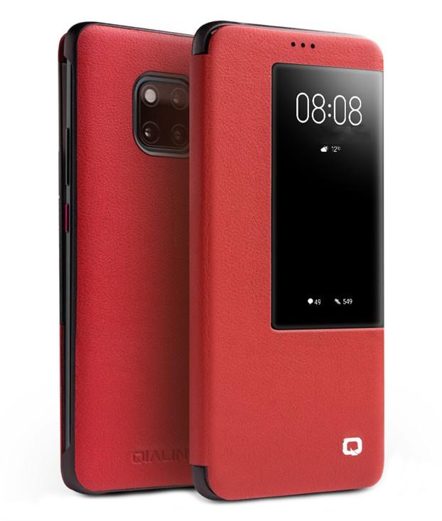 Husa slim din piele naturala, smart cover, Huawei Mate 20 Pro - Qialino Smart Luxury, Rosu