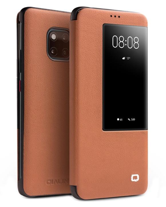 Husa slim din piele naturala, smart cover, Huawei Mate 20 Pro - Qialino Smart Luxury, Maro tabac