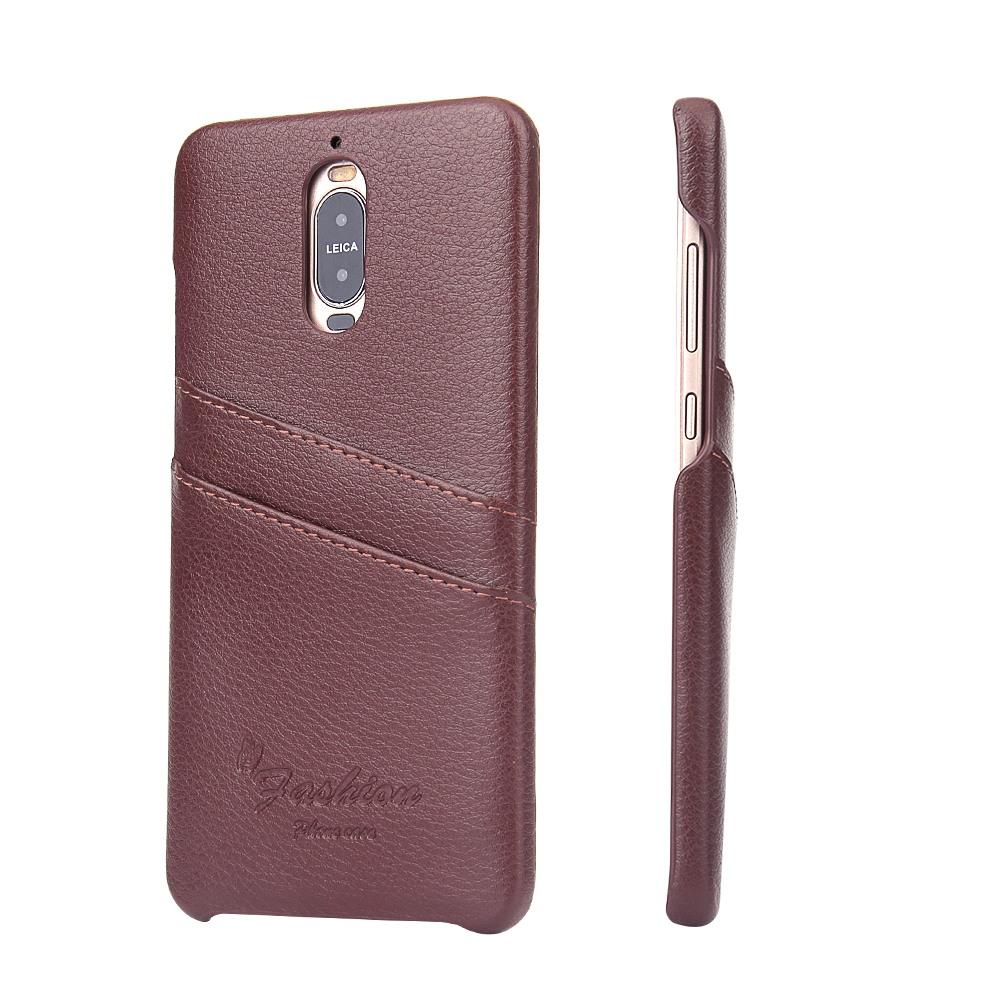 Husa slim din piele, tip back cover, cu buzunarase, Huawei Mate 9 Pro - CaseMe, Maro