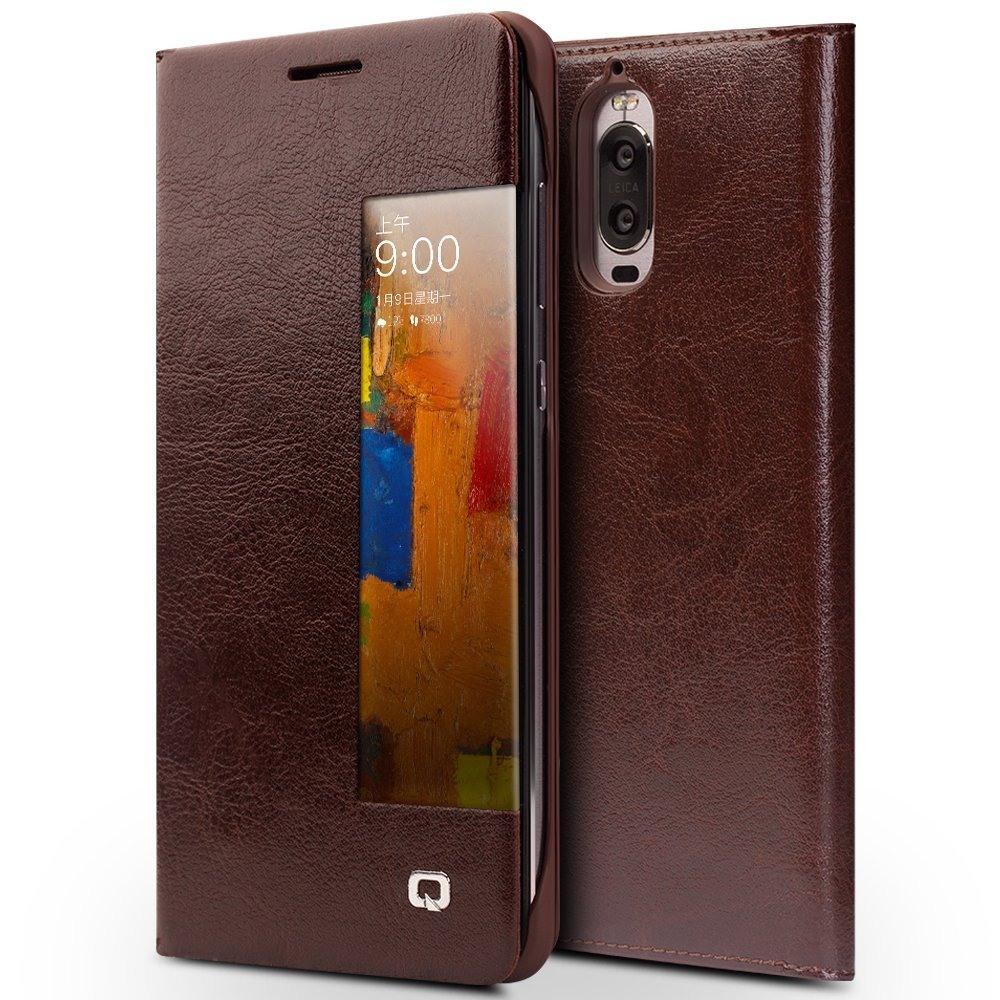 Husa slim din piele fina naturala, smart cover, Huawei Mate 9 Pro - Qialino Smart Leather, Maro coffee
