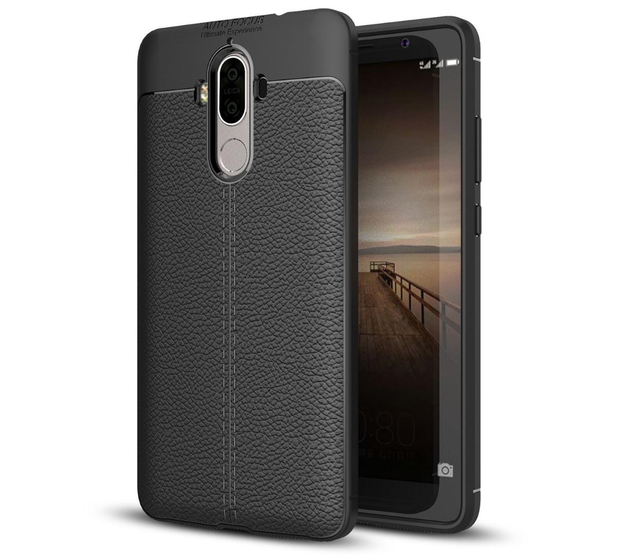 Husa silicon + TPU cu model piele, back cover, Huawei Mate 9 - CaseME, Negru
