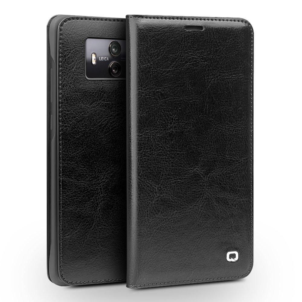 Husa din piele fina naturala, tip carte, cu buzunar card, Huawei Mate 10 - Qialino Classic Wallet, Negru