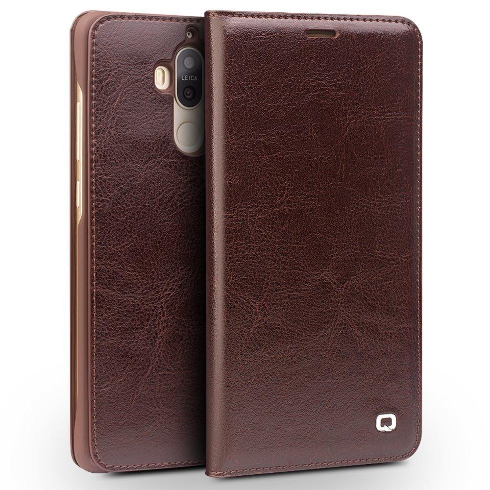 Husa din piele fina naturala, tip carte, cu buzunar card, Huawei Mate 9 - Qialino Classic Wallet, Maro coffee