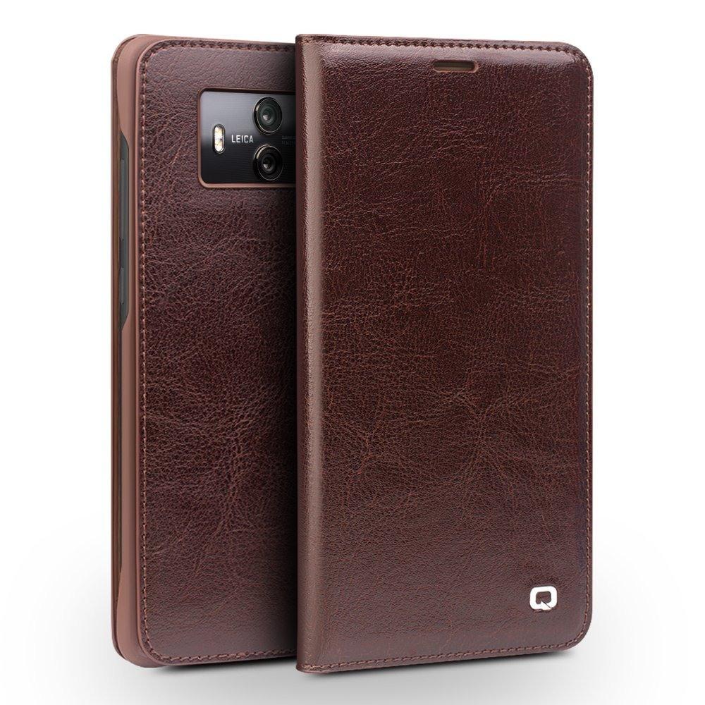 Husa din piele fina naturala, tip carte, cu buzunar card, Huawei Mate 10 - Qialino Classic Wallet, Maro coffee