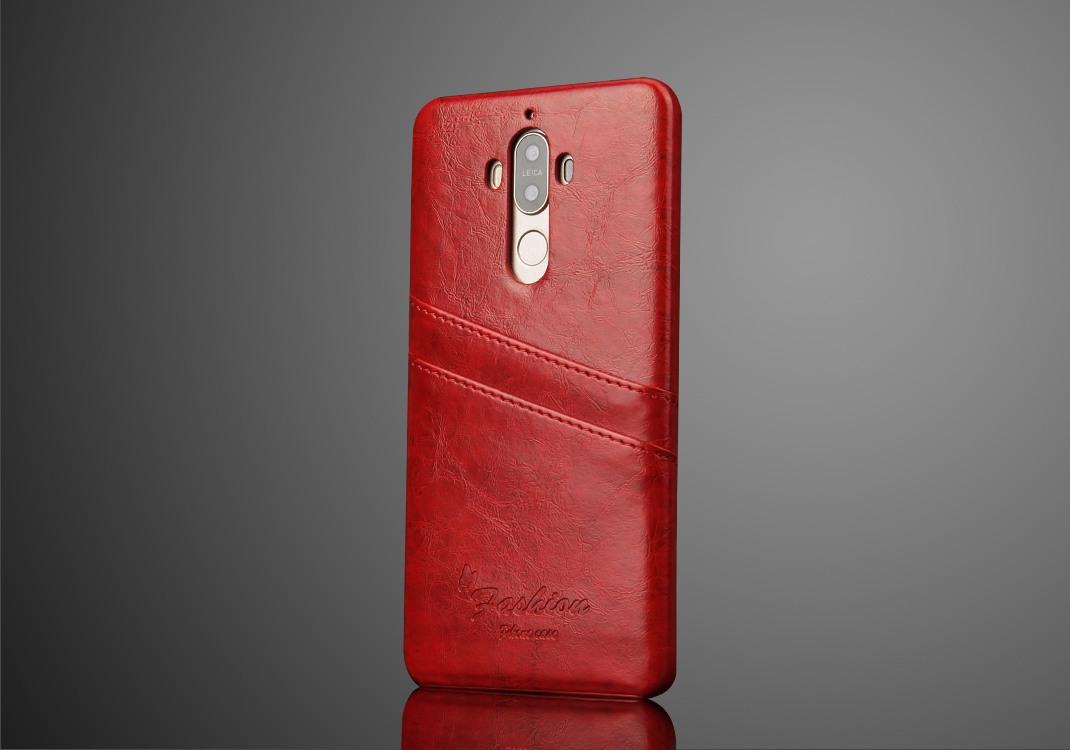 Husa slim piele cu textura vintage, tip back cover, Huawei Mate 9 - CaseMe, Rosu
