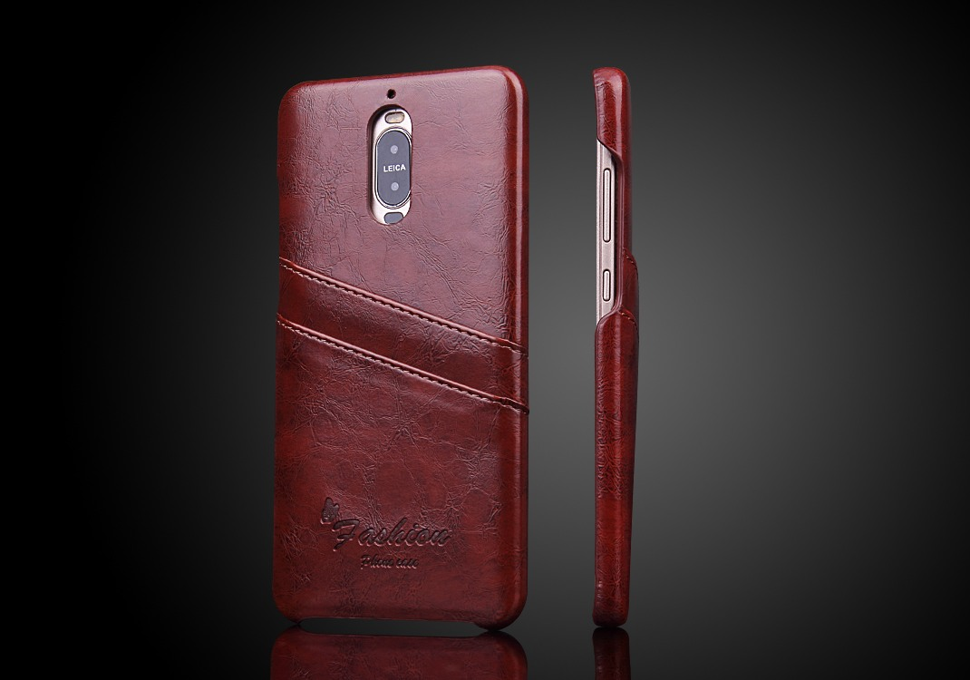 Husa slim piele cu textura vintage, tip back cover, Huawei Mate 9 Pro - CaseMe, Maro coniac