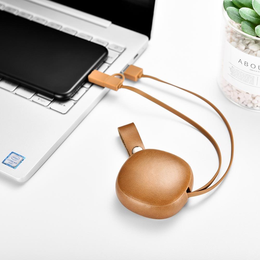 Cablu de incarcare retractabil 2 in 1, piele naturala, USB + Type-C / Micro USB - iCarer Vintage, Maro camel