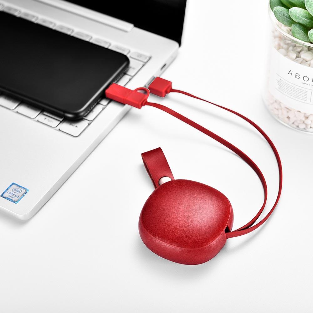 Cablu de incarcare retractabil 2 in 1, piele naturala, USB + Type-C / Micro USB - iCarer Vintage, Rosu burgund