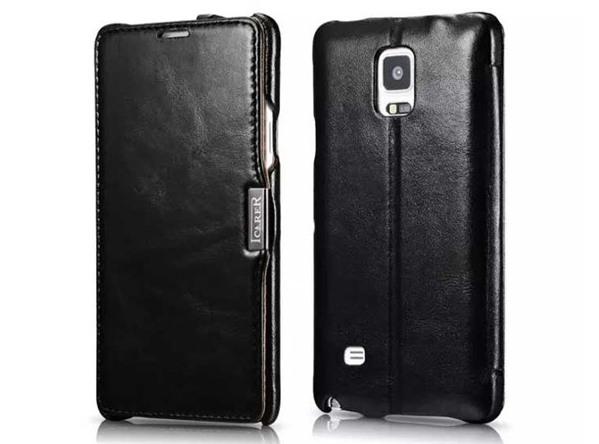 Husa din piele naturala, tip carte, Samsung Galaxy Note 4 - iCARER Vintage, Negru