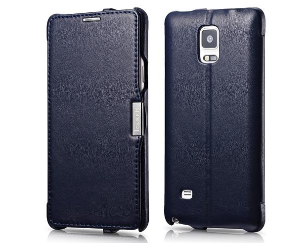 Husa din piele naturala, tip carte, Samsung Galaxy Note 4 - iCarer Luxury, Albastru