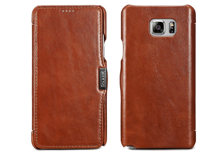 Husa din piele naturala, tip carte, Samsung Galaxy Note 5 / Note 5 Duos - iCARER Vintage, Maro coniac