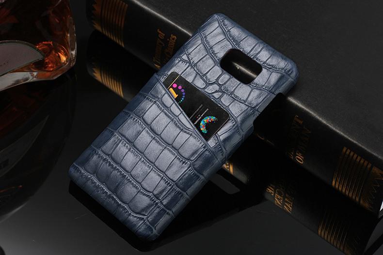 Husa slim din piele naturala, textura croco, tip back cover - Samsung Galaxy Note 5 / Note 5 Duos, Albastru