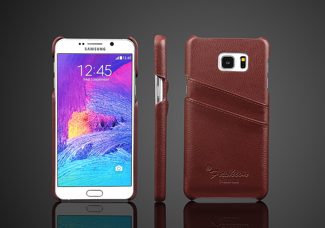 Husa slim din piele naturala, tip back cover, cu buzunarase - Samsung Galaxy Note 5 / Note 5 Duos, Maro
