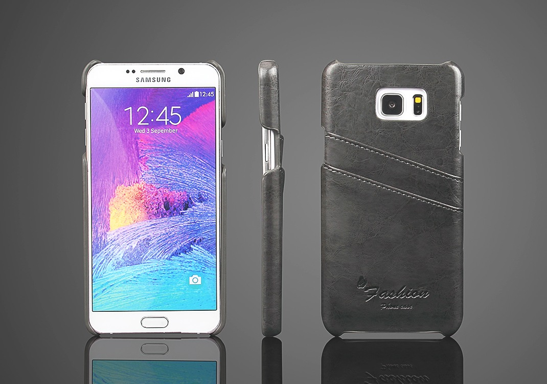 Husa slim din piele cu textura vintage, tip back cover, Samsung Galaxy Note 5 / Note 5 Duos, Gri