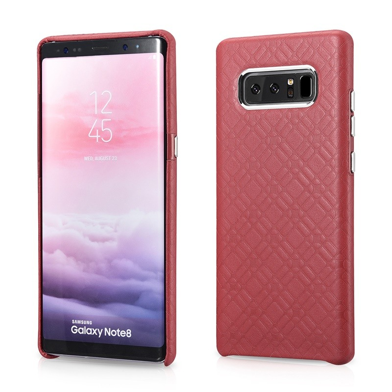 Husa din piele naturala, tip back cover, Samsung Galaxy Note 8 - iCarer Check Luxury, Rosu