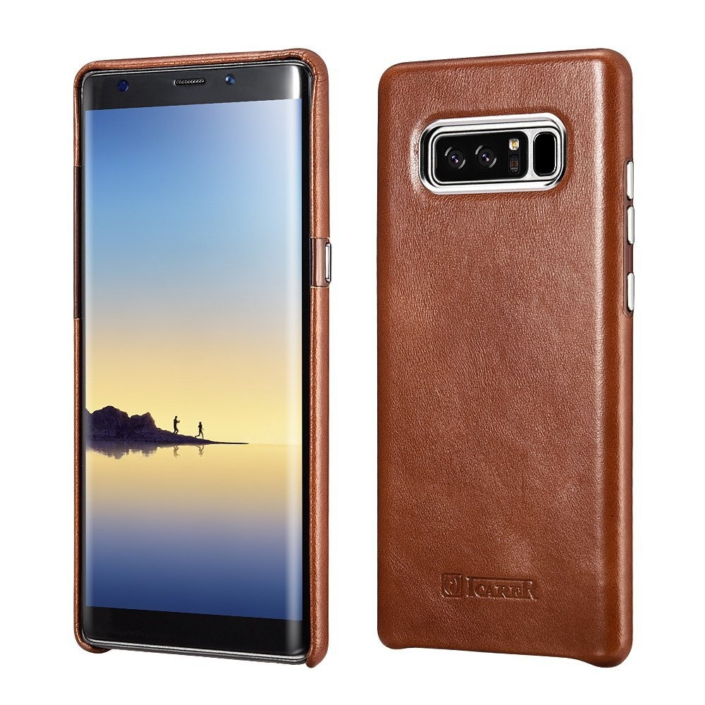 Husa piele naturala, tip back cover, Samsung Galaxy Note 8 - iCarer Transformers, Maro coniac