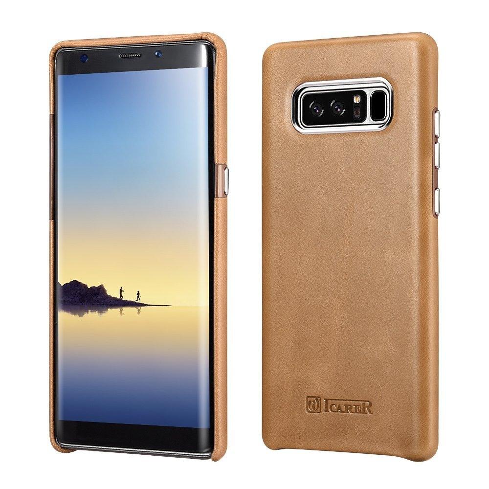 Husa piele naturala, tip back cover, Samsung Galaxy Note 8 - iCarer Transformers, Maro camel