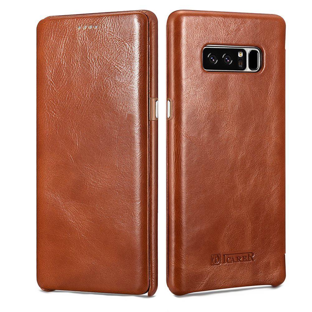 Husa piele naturala, tip carte cu clapeta curbata, Samsung Galaxy Note 8 - iCARER Vintage, Maro coniac