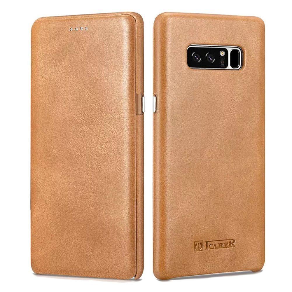 Husa piele naturala, tip carte cu clapeta curbata, Samsung Galaxy Note 8 - iCARER Vintage, Camel