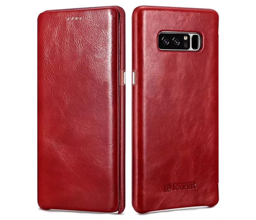 Husa piele naturala, tip carte cu clapeta curbata, Samsung Galaxy Note 8 - iCARER Vintage, Rosu burgund