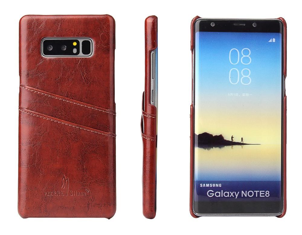 Husa slim piele fina cu textura vintage, tip back cover, Samsung Galaxy Note 8 - CaseMe, Maro coniac
