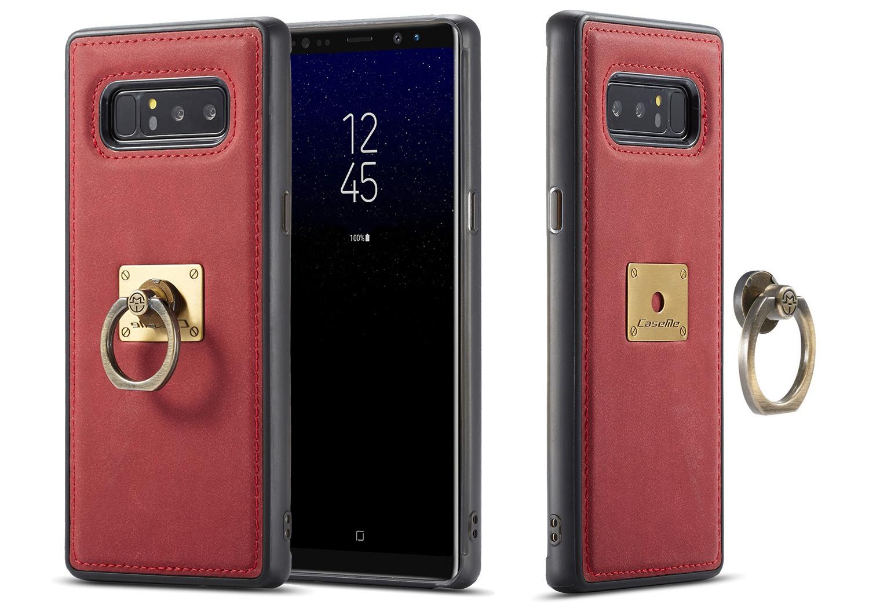 Husa slim piele, cu inel detasabil, back cover, Samsung Galaxy Note 8 - CaseME, Rosu