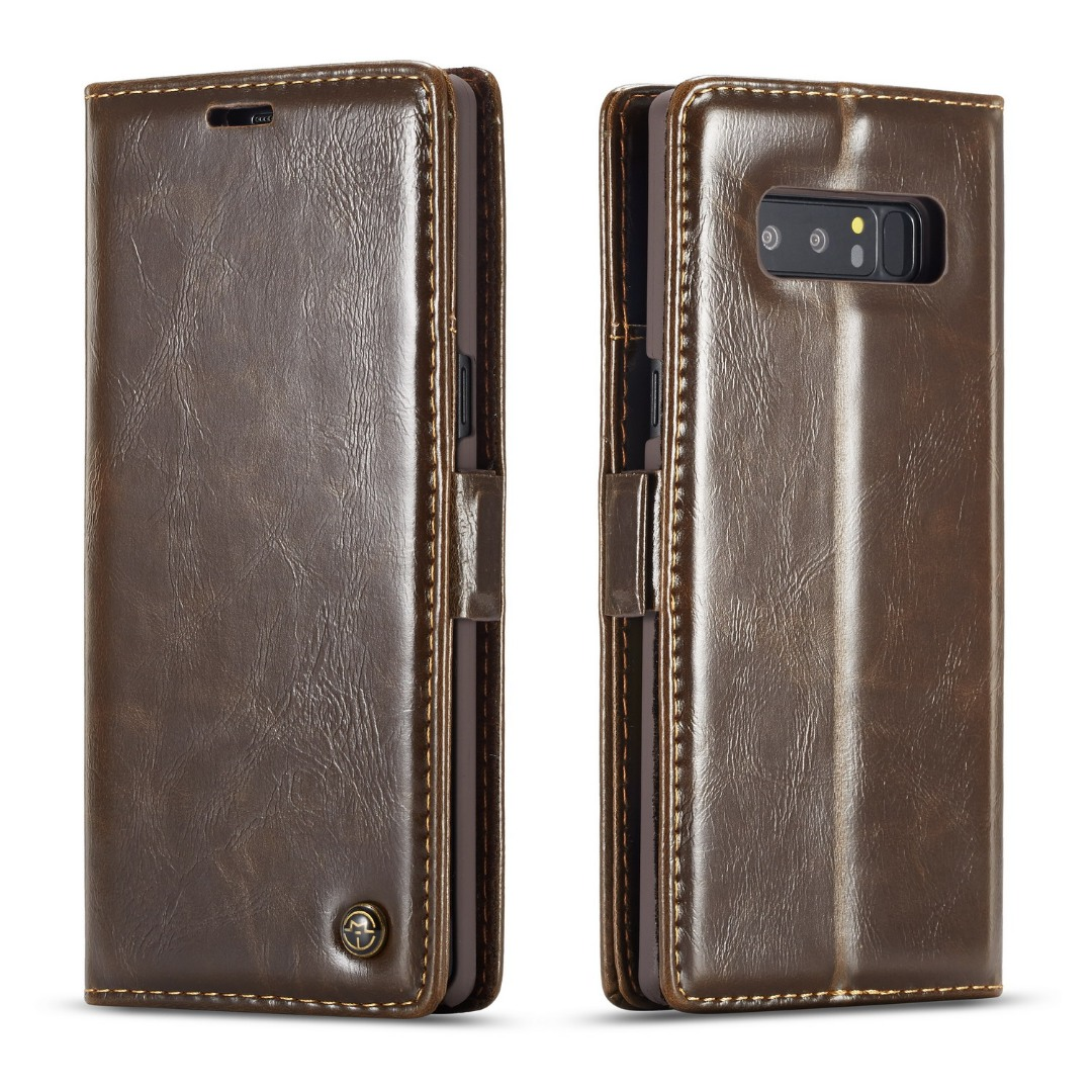 Husa piele fina, tip portofel, stand, inchidere magnetica, Samsung Galaxy Note 8 - CaseMe, Maro coffee