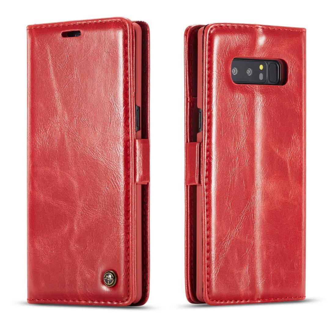 Husa piele fina, tip portofel, stand, inchidere magnetica, Samsung Galaxy Note 8 - CaseMe, Rosu