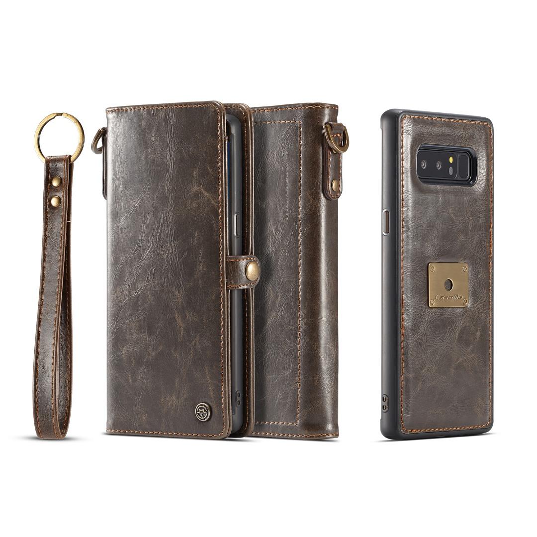 Husa piele portofel, multifunctionala, buzunare carduri, bani, casti, chei, Samsung Galaxy Note 8 - CaseME, Maro coffee