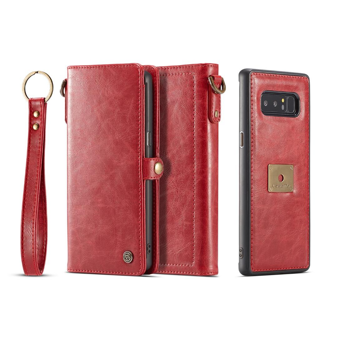 Husa piele portofel, multifunctionala, buzunare carduri, bani, casti, chei, Samsung Galaxy Note 8 - CaseME, Rosu