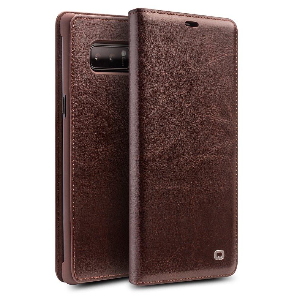 Husa slim din piele fina tip carte, cu buzunar card, Samsung Galaxy Note 8 - Qialino, Maro coffee