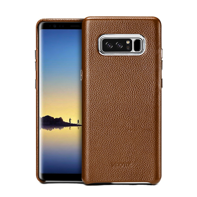 Husa din piele naturala, tip back cover, Samsung Galaxy Note 8 - Xoomz by iCarer Litchi, Maro