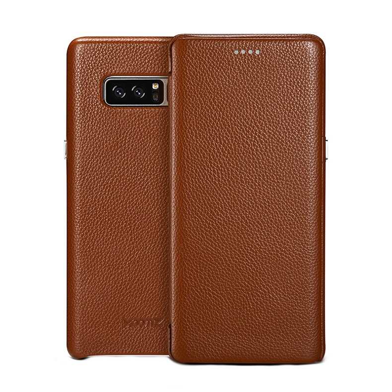 Husa piele naturala texturata, tip carte, Samsung Galaxy Note 8 - Xoomz by iCarer Litchi Curved, Maro tabac