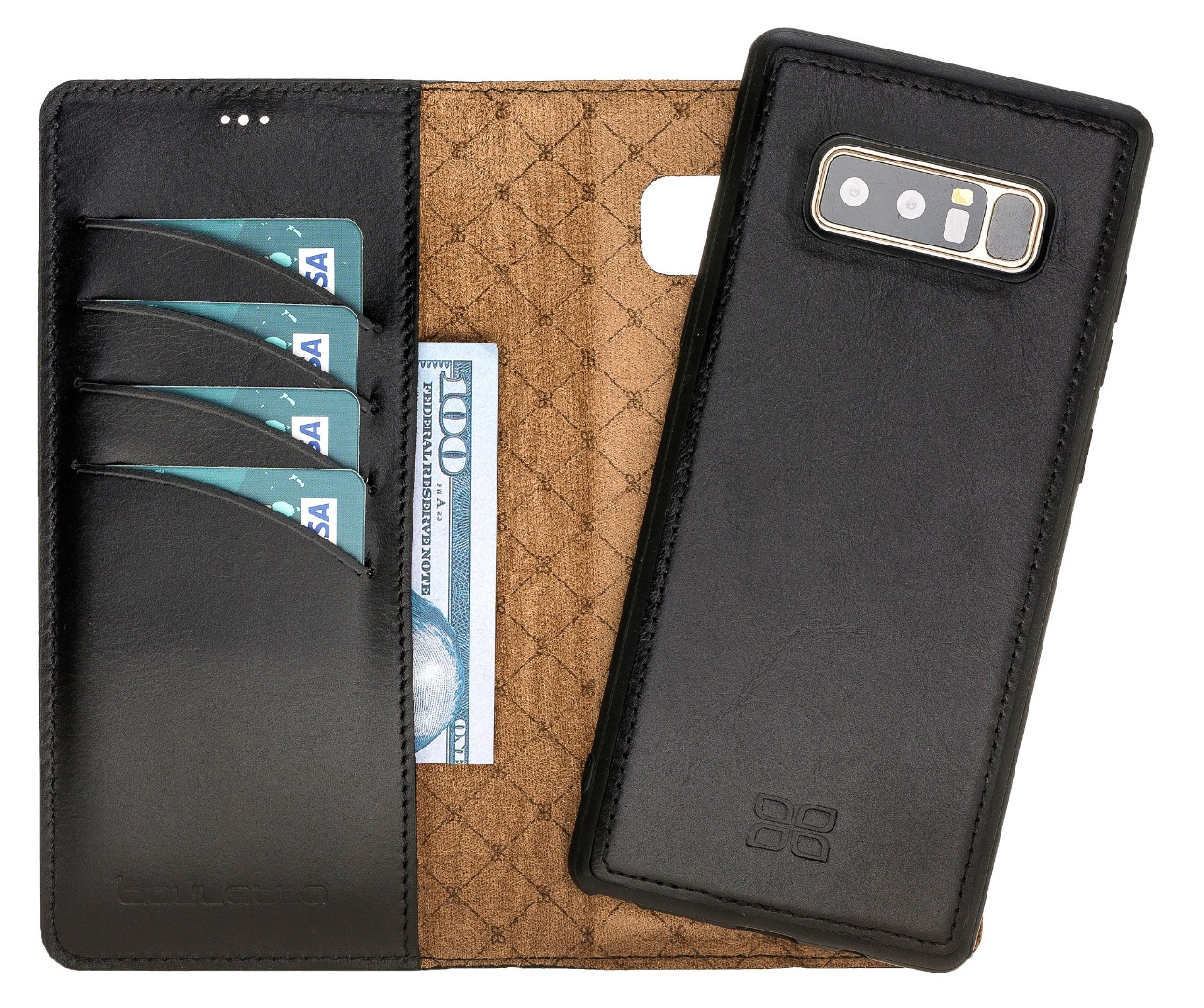 Husa piele naturala 2 in 1, tip portofel + back cover, Samsung Galaxy Note 8 - Bouletta Magic Wallet, Rustic black