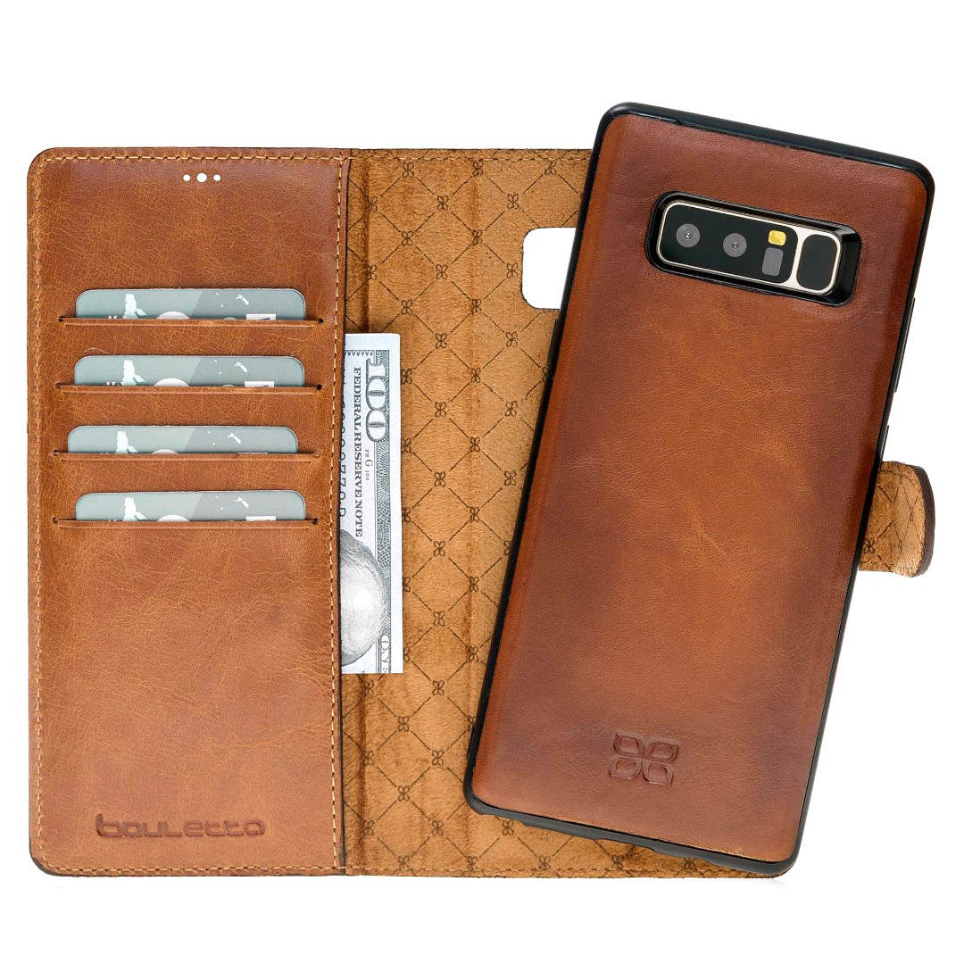 Husa piele naturala 2 in 1, tip portofel + back cover, Samsung Galaxy Note 8 - Bouletta Magic Wallet, Burnished tan