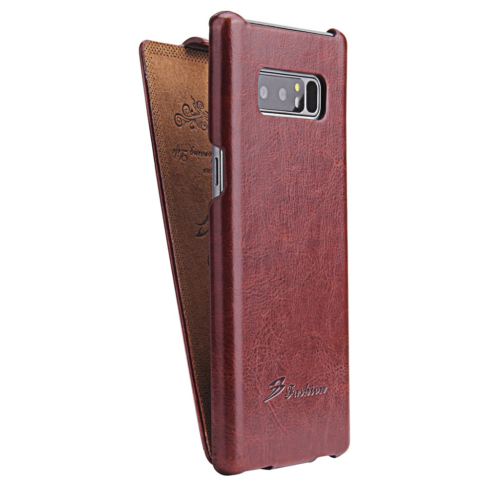 Husa piele fina, tip flip cover - Samsung Galaxy Note 8, Maro coniac