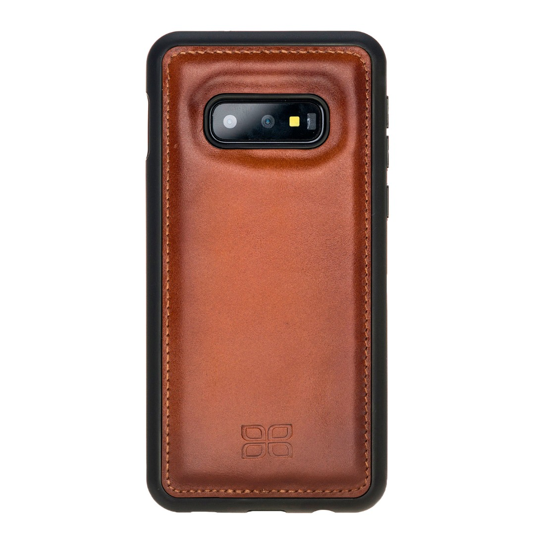 Husa slim piele naturala + rama TPU moale, back cover, Samsung Galaxy S10E - Bouletta, Burnished tan
