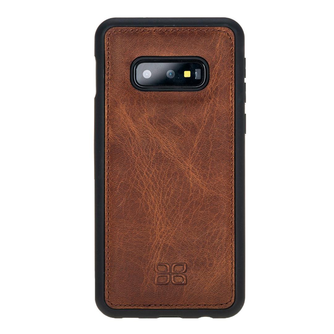 Husa slim piele naturala + rama TPU moale, back cover, Samsung Galaxy S10E - Bouletta, Antique brown