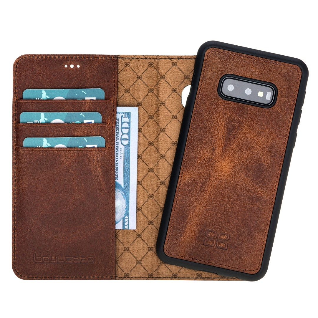 Husa piele naturala 2in1, portofel + back cover, Samsung Galaxy S10E - Bouletta Magic Wallet, Antique brown