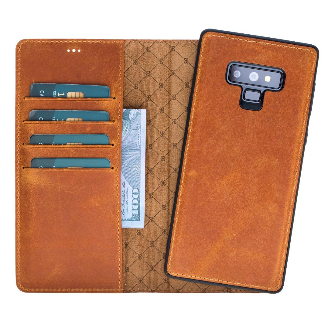 Husa piele naturala 2in1, portofel + back cover, Samsung Galaxy Note 9 - Bouletta Magic Wallet, Antique golden brown