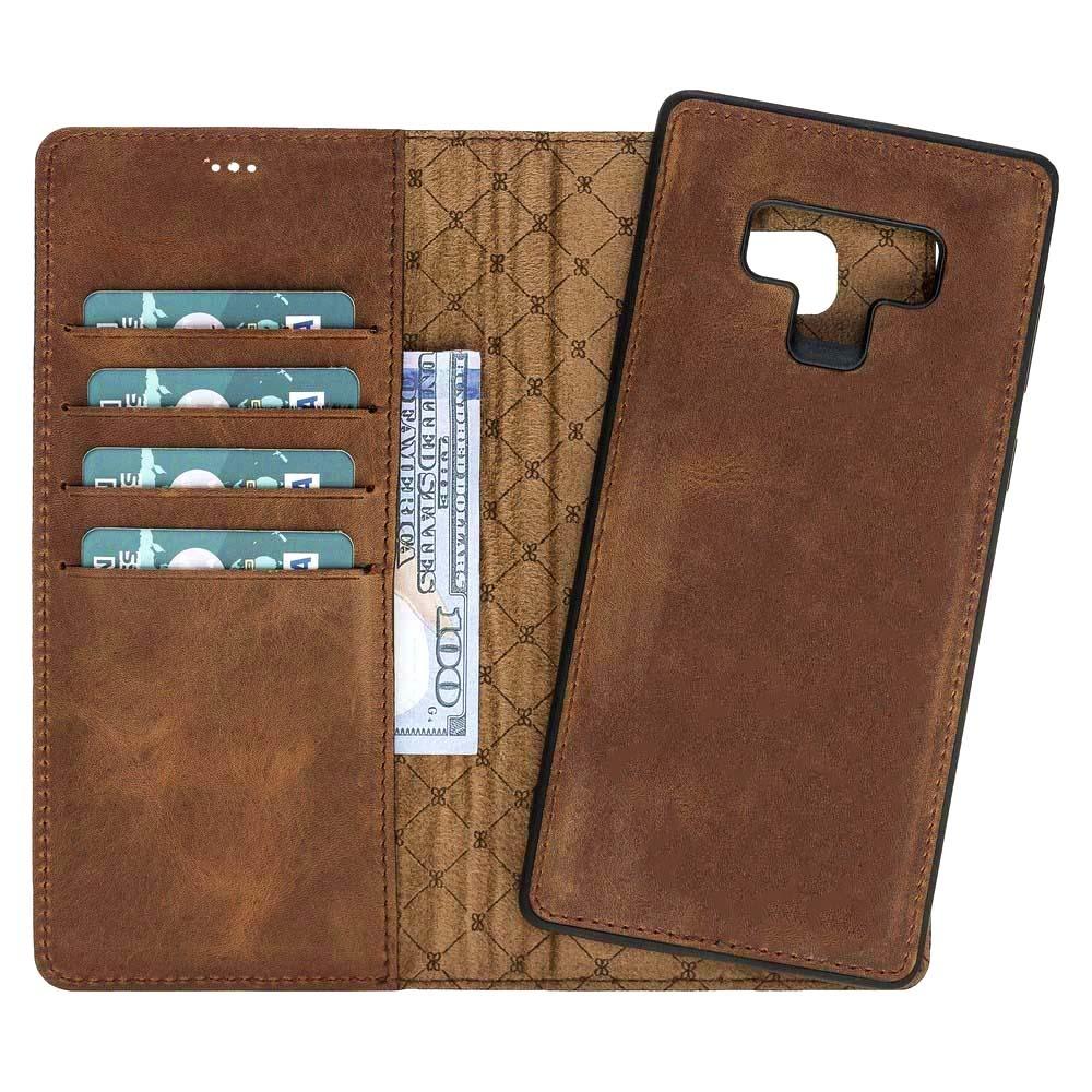Husa piele naturala 2in1, portofel + back cover, Samsung Galaxy Note 9 - Bouletta Magic Wallet, Antique brown