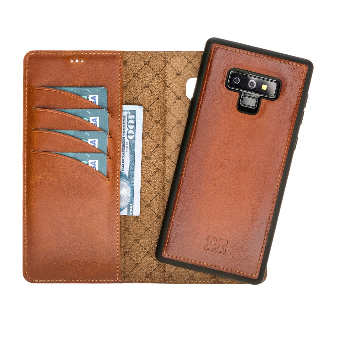 Husa piele naturala 2in1, portofel + back cover, Samsung Galaxy Note 9 - Bouletta Magic Wallet, Burnished tan