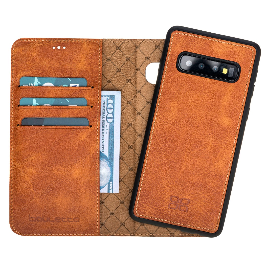 Husa piele naturala 2in1, portofel + back cover, Samsung Galaxy S10 - Bouletta Magic Wallet, Tiana tan